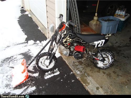 bike good idea plow shovel snow winter - 4298989312
