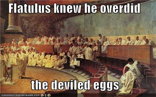 Flatulus knew he overdid the deviled eggs