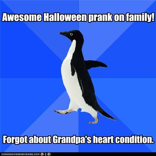 good job,grandma,halloween,heart attack,prank,socially awkward penguin