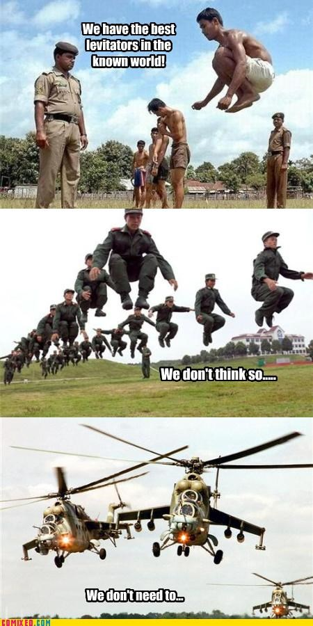 army,Compare And Contrast,helicopters,levitation,the internets,training,wtf