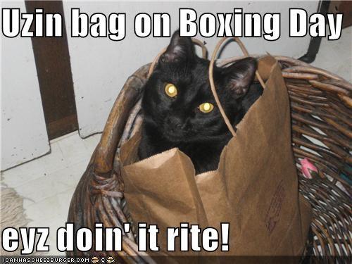 Uzin bag on Boxing Day  eyz doin' it rite!