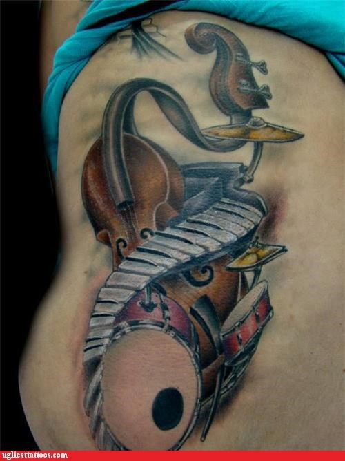 Music tattoos instruments