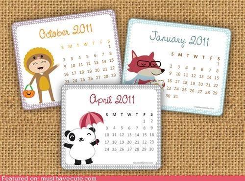 2011 calendar characters free mini printable - 4300500736