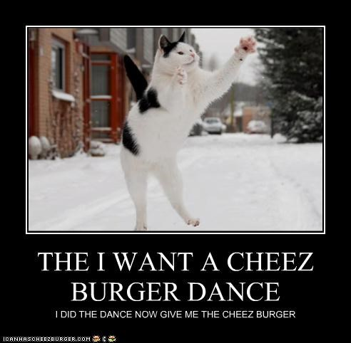THE I WANT A CHEEZ BURGER DANCE I DID THE DANCE NOW GIVE ME THE CHEEZ BURGER