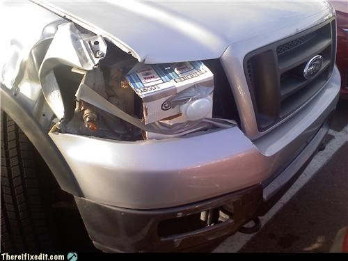 car,duct tape,light,tap light