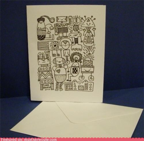 blank card drawing robots stationary - 4300876800