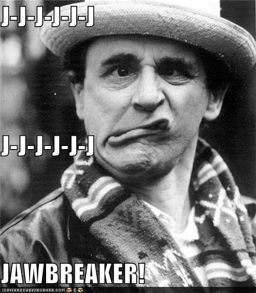 derp,hat,jawbreaker,old timey,scarf,stutter