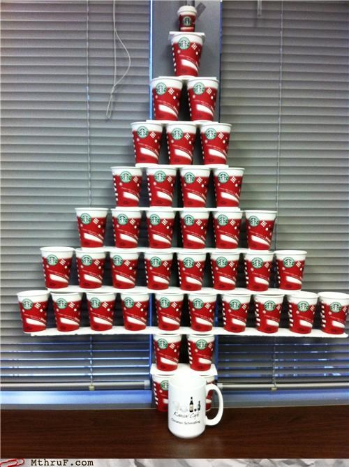 break room christmas coffee Starbucks tree