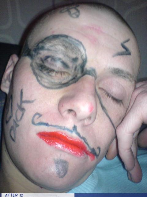 lipstick,marker,monocle,passed out,sharpie
