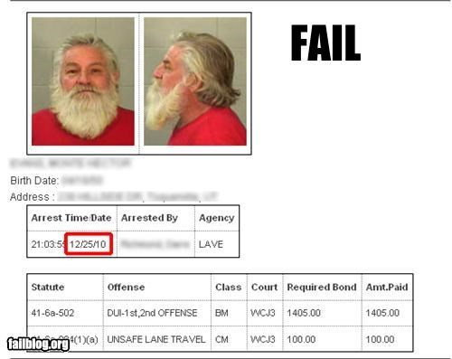 arrested,christmas,failboat,g rated,jail,mugshot,news,santa,Tis the Season