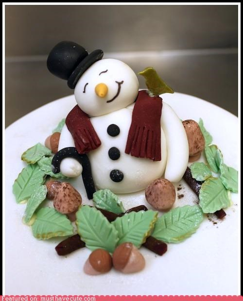 acorns,bird,cake,epicute,fondant,leaves,Mushrooms,snowman