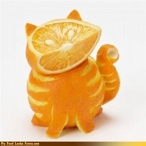 cat citrus orange sculpture - 4303779328
