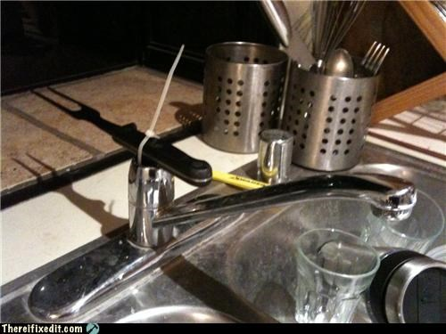bad idea,faucet,fork,sharp,sink