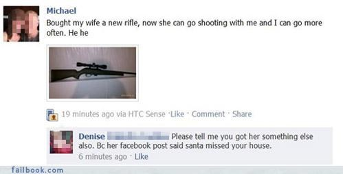 facebook post of someone that got a gun for wife's birthday and it is not looking well