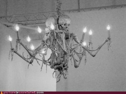 bones,chandelier,ed gein,not really,ominous,scary,wtf