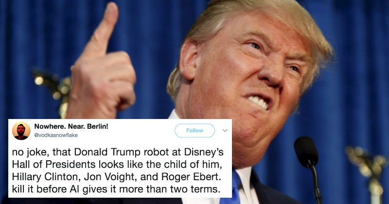 People react on Twitter to Disney's new animatronic Donald Trump.