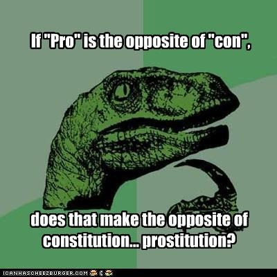 "If ""Pro"" is the opposite of ""con"", does that make the opposite of constitution... prostitution?"