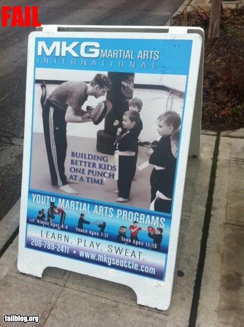 children failboat martial arts not what they meant sign slogan violence - 4305642240