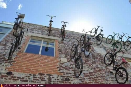 art,awesome,bikes,building,mount,wall,wtf