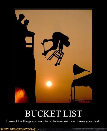 bucket list extreme sports impending death jacknicholson Morgan Freeman skateboarding