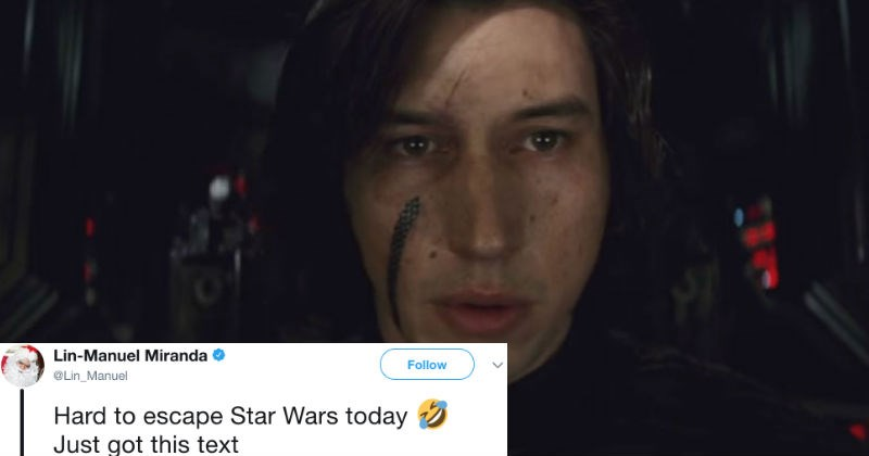 Someone accidentally texted a topless picture of Kylo Ren from Star Wars to Lin Manuel-Miranda.