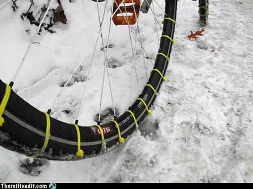 bike chains snow winter zip tie
