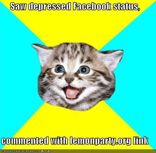 facebook Happy Kitten lemon party troll - 4306884352