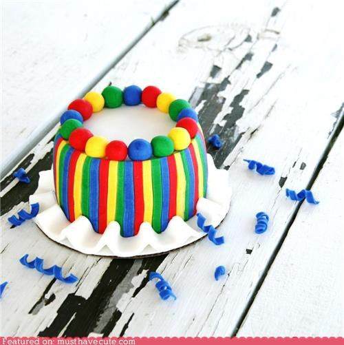 cake colorful epicute fondant mini stripes