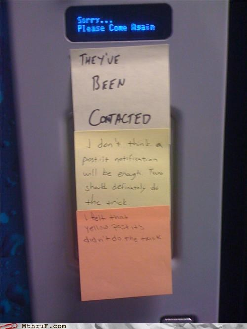notes,passive aggressive,post it,vending machine