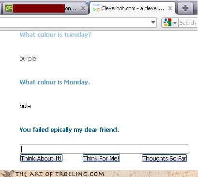 blue,breakfast of champions,Cleverbot,goodbye,kurt vonnegut,monday