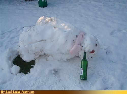 bottle drink fix snow snowman wine winter