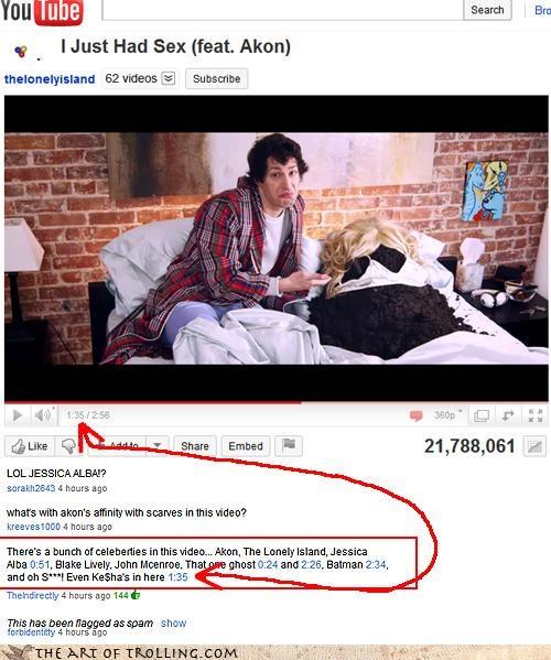 akon,andy samberg,i just had sex,jessica alba,keha,manure,youtube