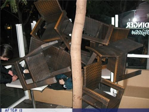 chairs,outdoors,passed out,stacking