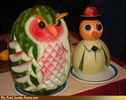 carving,hat,melon,Owl,penguin,sculpture
