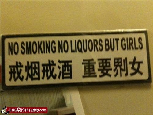 girls liquors sign smoking