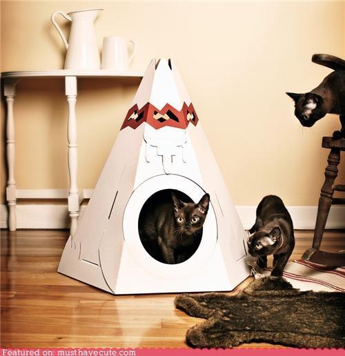cardboard cat house kitty teepee toy - 4310406912