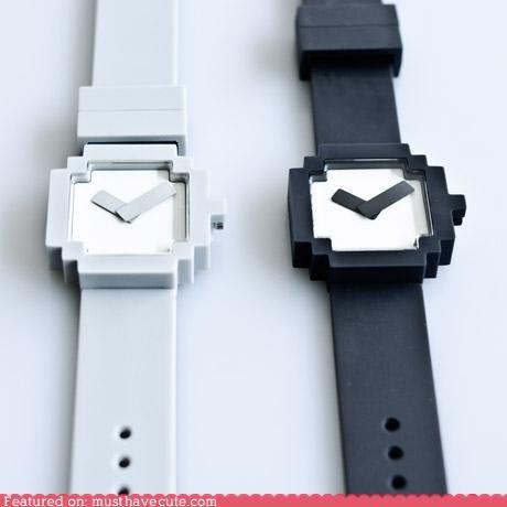 8 bit accessory pixelated video game watch - 4310416384