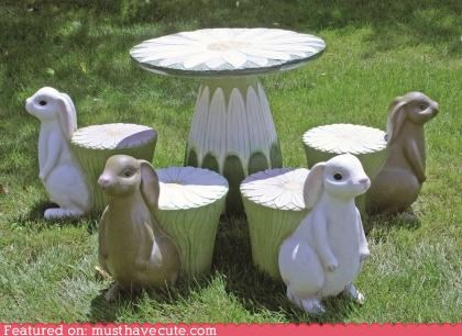 bunnies,chairs,garden,outdoors,rabbits,table