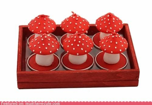 candles Mushrooms red tea lights - 4310448640