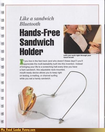 burgers and sandwiches,hands free,hands-free sandwich holder,holder,inventions,lazy,like a sandwich bluetooth,sandwich holder