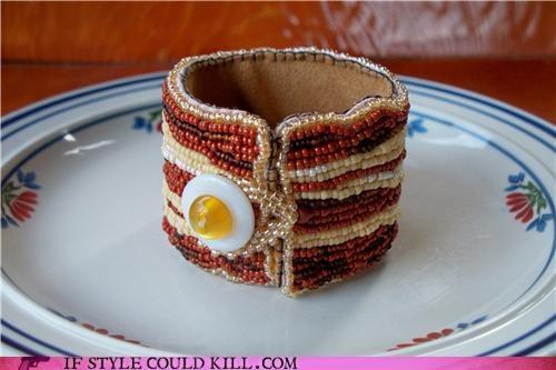 bacon breakfast cool-accessories-bacon-bracelet cuff yummy - 4311349248