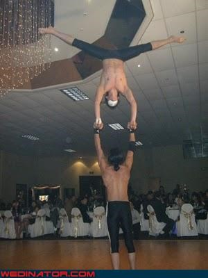 aerial acrobatics wedding,awesome wedding reception,fashion is my passion,funny wedding photos,spandex,surprise,technical difficulties,wedding entertainment,wedding halftime show,wedding reception,wedding show,Wedding Themes,wtf