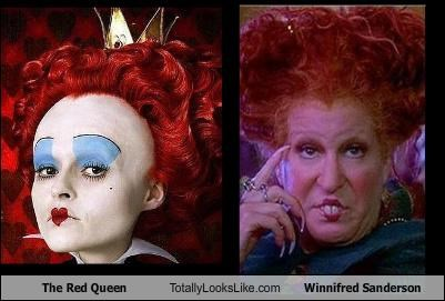 alice in wonderland,Bette Midler,helena bonham-carter,hocus pocus,the red queen,winifred sanderson