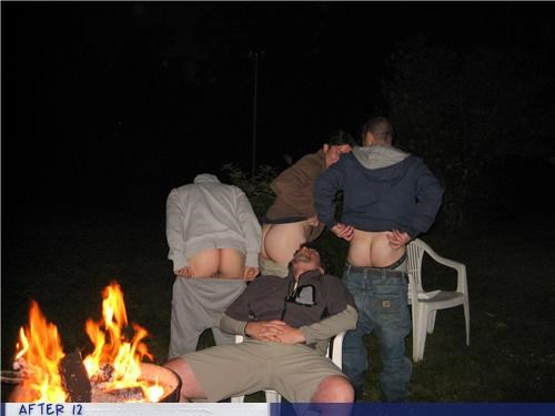 butt,drunk,fire,moon,outdoors,passed out