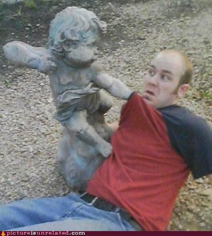 cherub demons IRL punching statues wtf - 4319603968