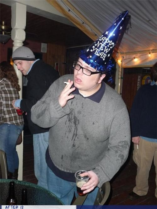 beer cigarette hat new year puke