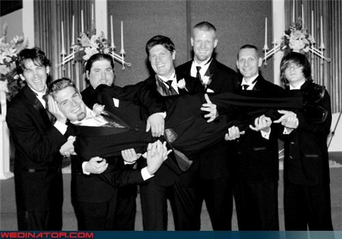 black-white crazy groom fashion is my passion funny groomsmen picture funny wedding photos goatee groom groom being held by groomsmen Groomsmen human headrest man love support wedding party
