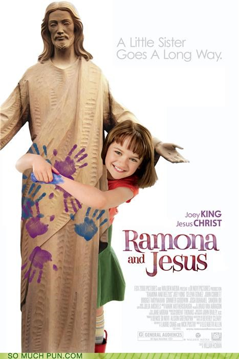 art,buddy christ,film,jesus,jesus christ,Movie,photoshop,poster,ramona,ramona and beezus,rhyming,rotten tomatoes,title