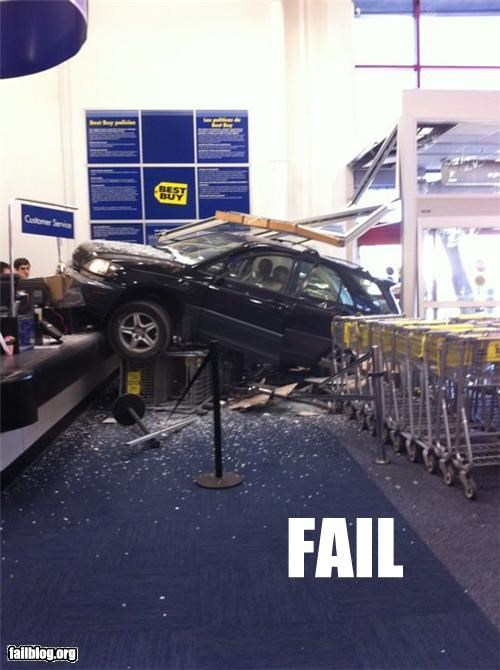 best buy,car,crash,customer service,driving,failboat,g rated,store front