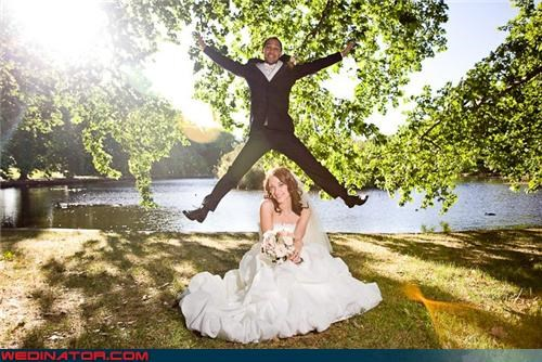 bride crazy groom eww fashion is my passion funny bride and groom picture funny bride picture funny groom picture funny wedding photos groom groom jumping interesting head placement jumping for joy miscellaneous-oops surprise were-in-love whoops